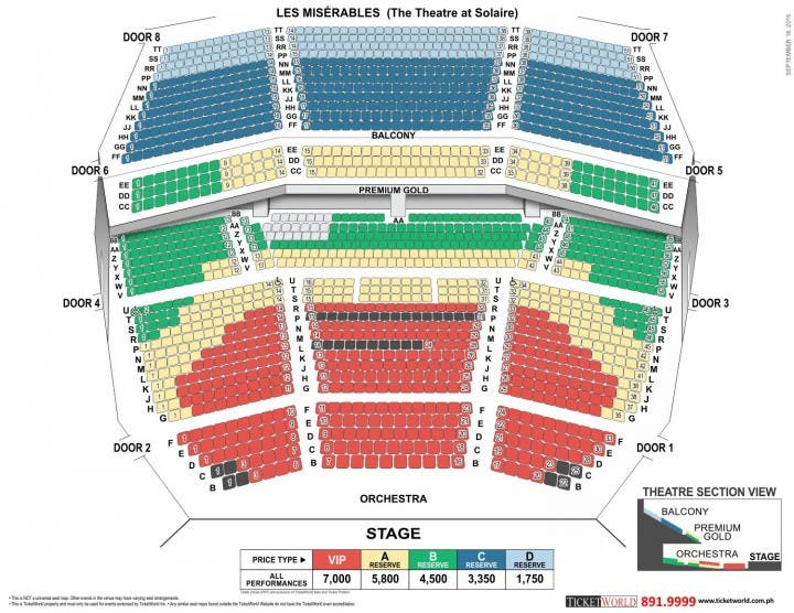 Les Miserables Manila Seat Plan Prices