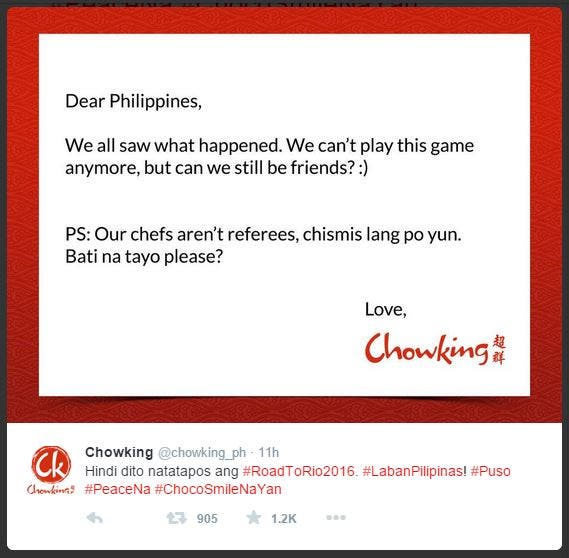 Chowking Responds to Gilas Loss in the FIBA Finals Against China 3