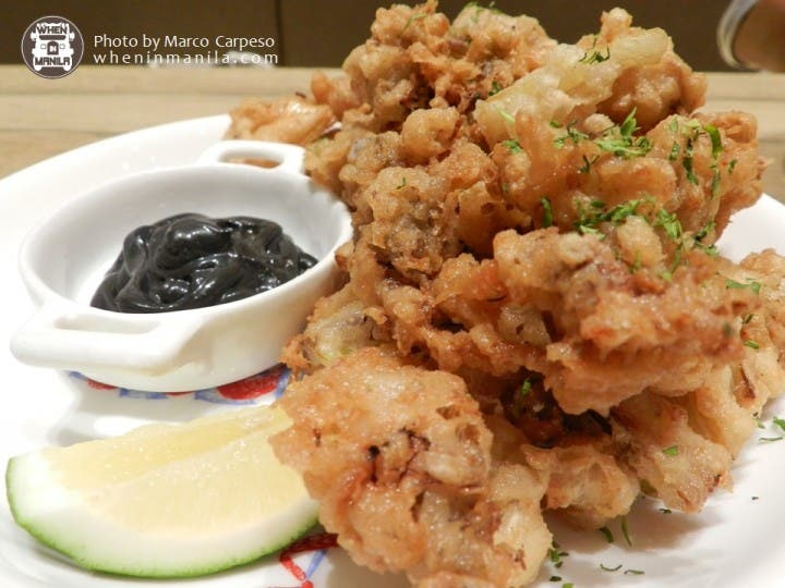 Salted Egg Fried Baby Squid with Squid Ink Aioli Php 310