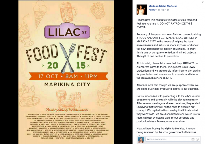 Marikina city government allegedly steals event idea 2