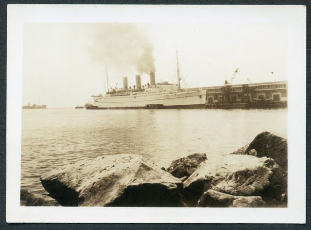 """""""This is the """"Empress of Canada"""" tied up at pier #5. The longest pier in the world."""""""