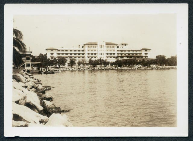 """""""The Manila hotel. Also Legaspi landing on the left. Best & largest hotel in Manila. Also most expensive."""""""