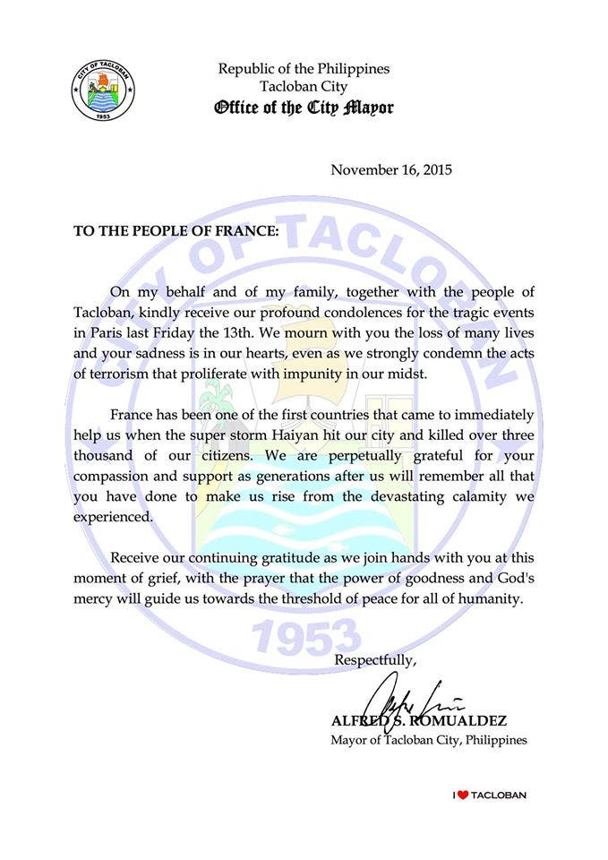 READ Tacloban City Government Sends Condolences to the People of France