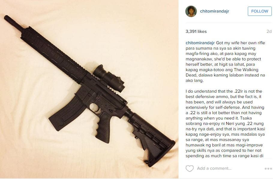 Chito Miranda Gives Wife Neri Naig a Rifle for Christmas