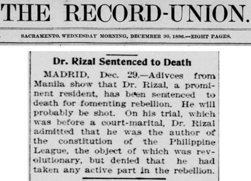 LOOK Newspaper Article Dating Back to 1896 Details Rizal's Fate