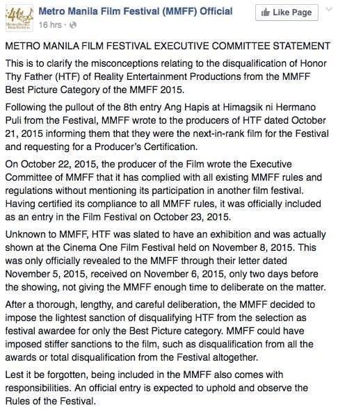 MMFF disqualification Honor Thy Father statement