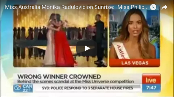 Miss Australia says Pia true winner