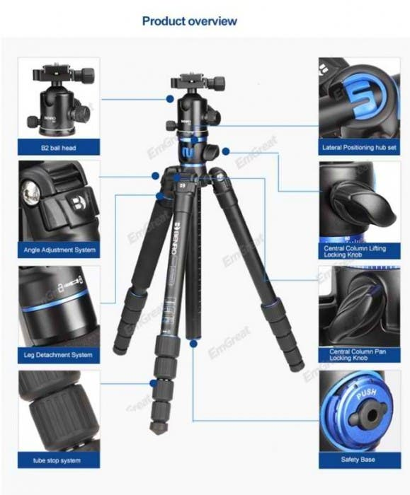 Orignal-Benro-SystemGo-GA169TB1-Professional-Tripod-Kit-Carbon-Fiber-Tube-with-Tripe-Ball-Head-for-Canon