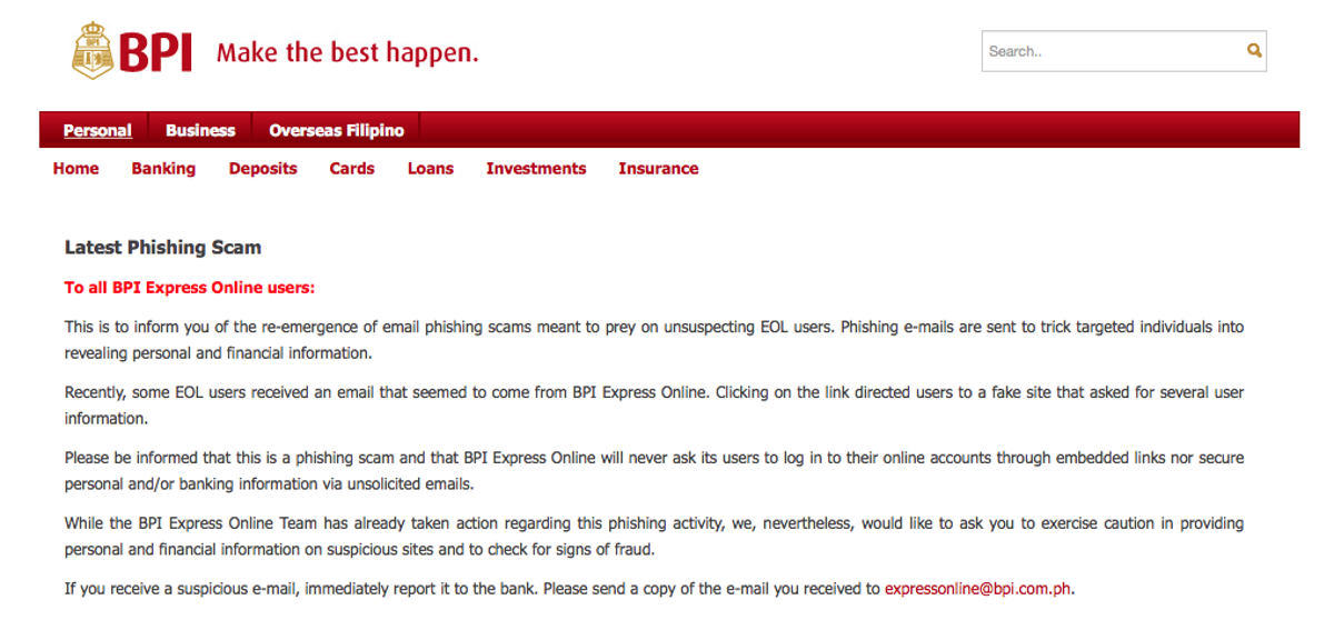 BEWARE: BPI Issues Statement Regarding New Online Phishing