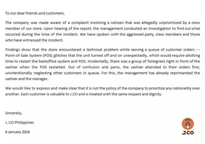 J.Co releases official statement