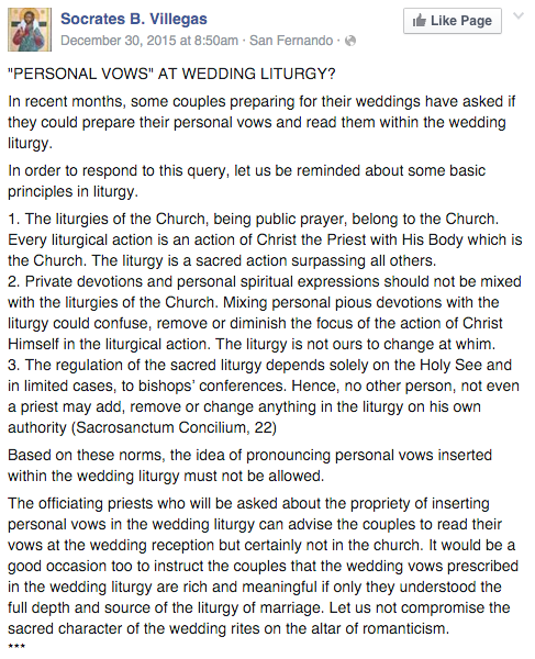 Personal Vows Wedding CBCP