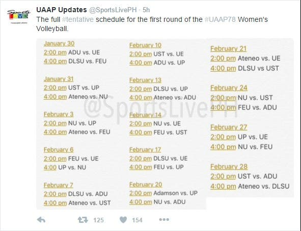 Vollyball Sched