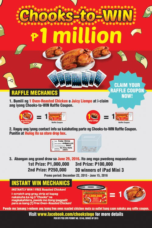 get a chance to win 1 million pesos with chooks to go s chooks to