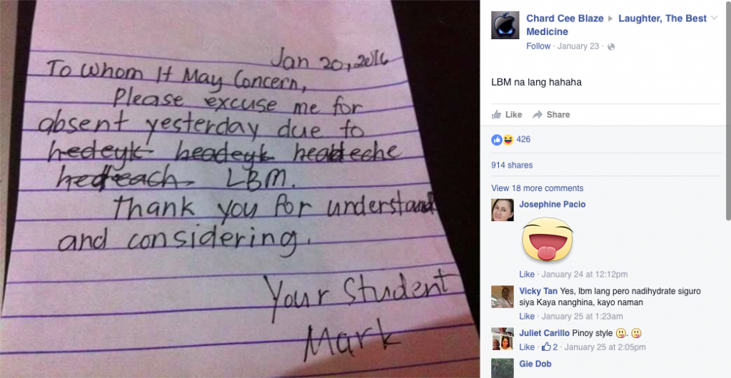 Look student submits very convincing excuse letter for being look student submits very convincing excuse letter for being absent when in manila thecheapjerseys Gallery