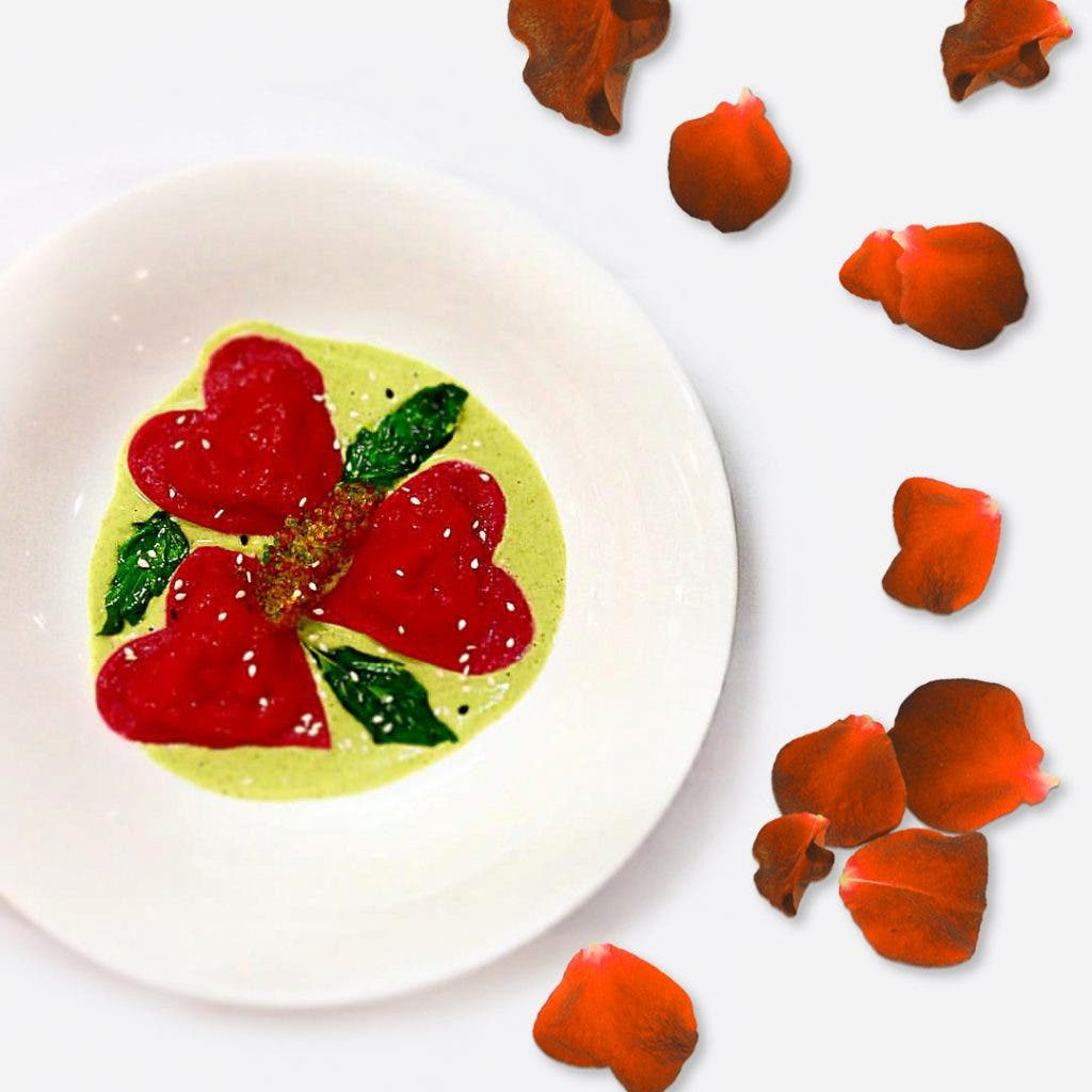 Get into the romantic mood with Paparazzis heart-shaped tortelli with sea urchin broccoli sauce