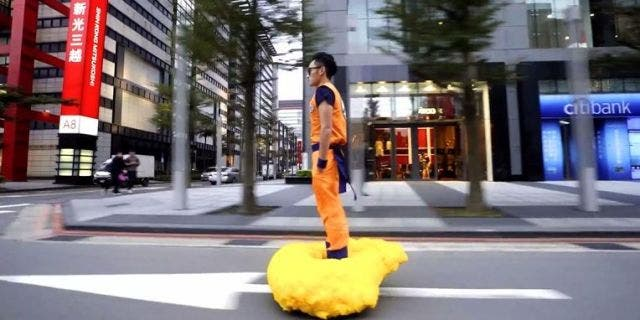 Guy Cosplays as Dragon Ball's Goku... Complete With Working Flying Nimbus