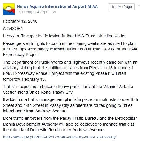ROAD ADVISORY: NAIA Expressway Phase II Construction Begins, Expect Heavy Traffic