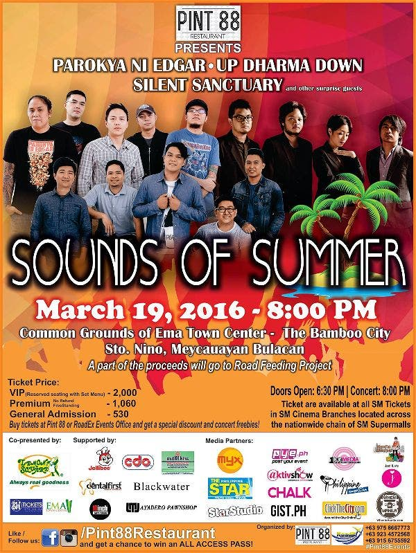 Come Join the Party @ Sounds of Summer! With Parokya ni Edgar, Up Dharma Down, Silent Sanctuary, and More