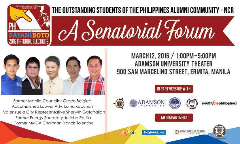 Know Your Candidates: Bayaniboto 2016, A Senatorial Forum at Adamson University