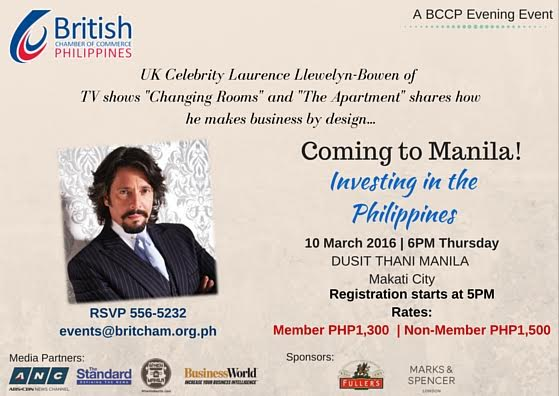 British Homestyle Consultant Laurence Llewelyn Bowen To Hold Brief Talk at Dusit Thani