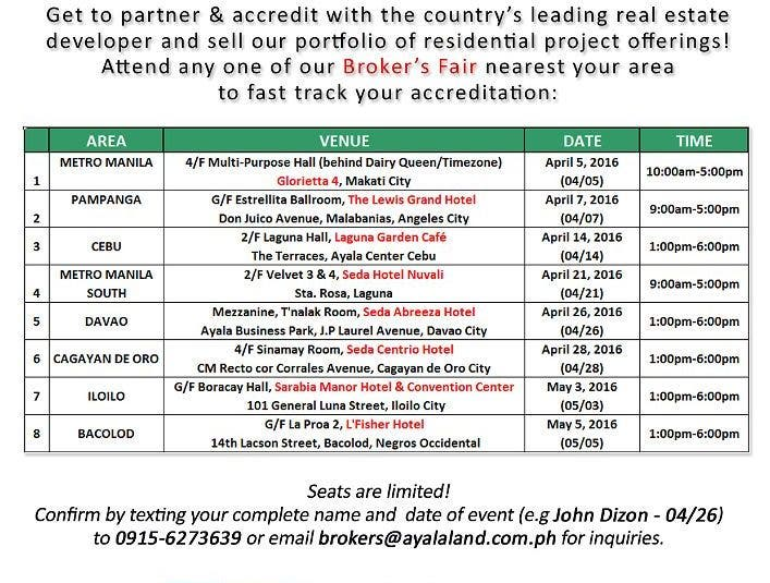 Calling All New Real Estate Brokers and Sales Agents! Get Accredited with Ayala Land Broker's Fair