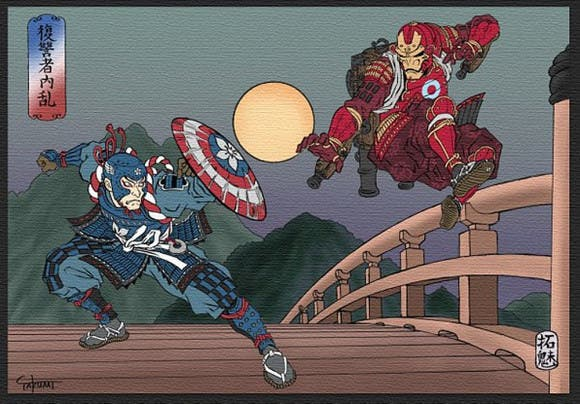 LOOK Captain America and Iron Man Reimagined as Ancient Japanese Art 2