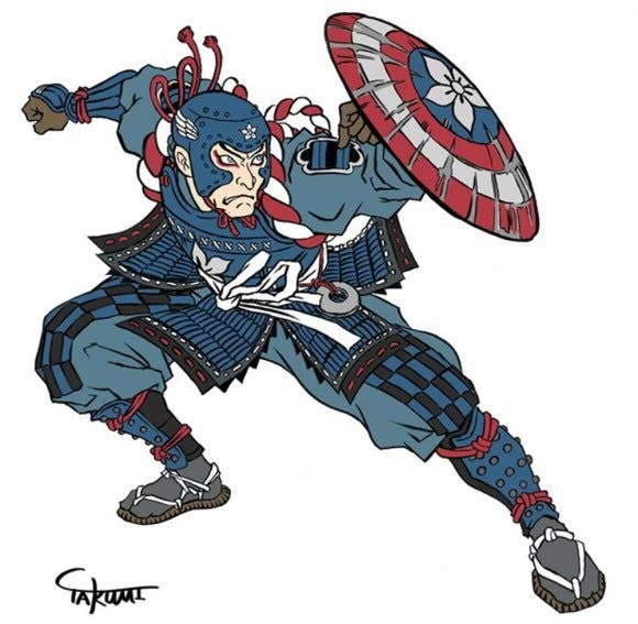 LOOK Captain America and Iron Man Reimagined as Ancient Japanese Art 3