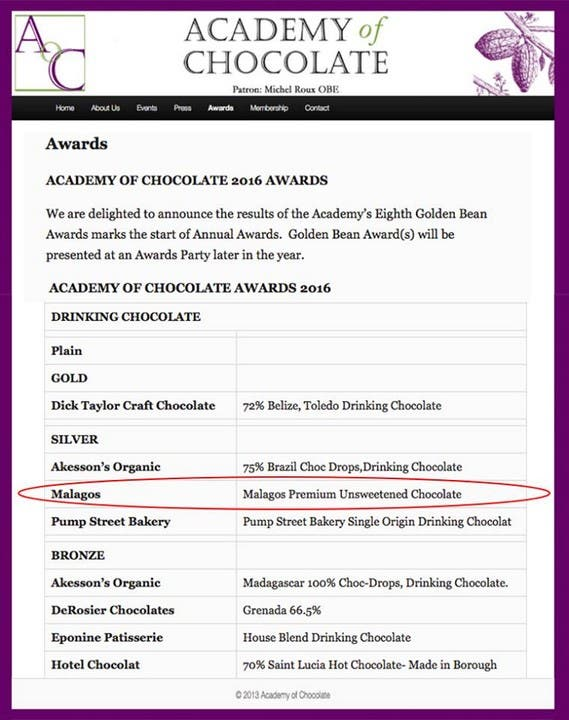 The announcement of this year's winners on the website of the Academy of Chocolate (https://www.academyofchocolate.org.uk/awards/)