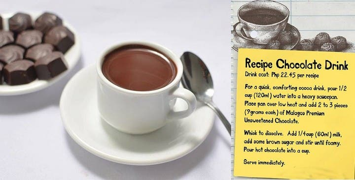Malagos Chocolate is best used to make a cuppa of hot, rich cocoa drink