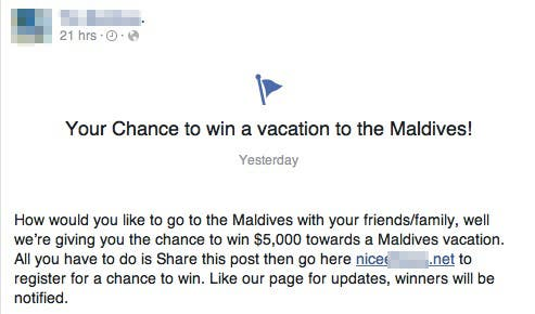 Maldives Facebook Contest Scam
