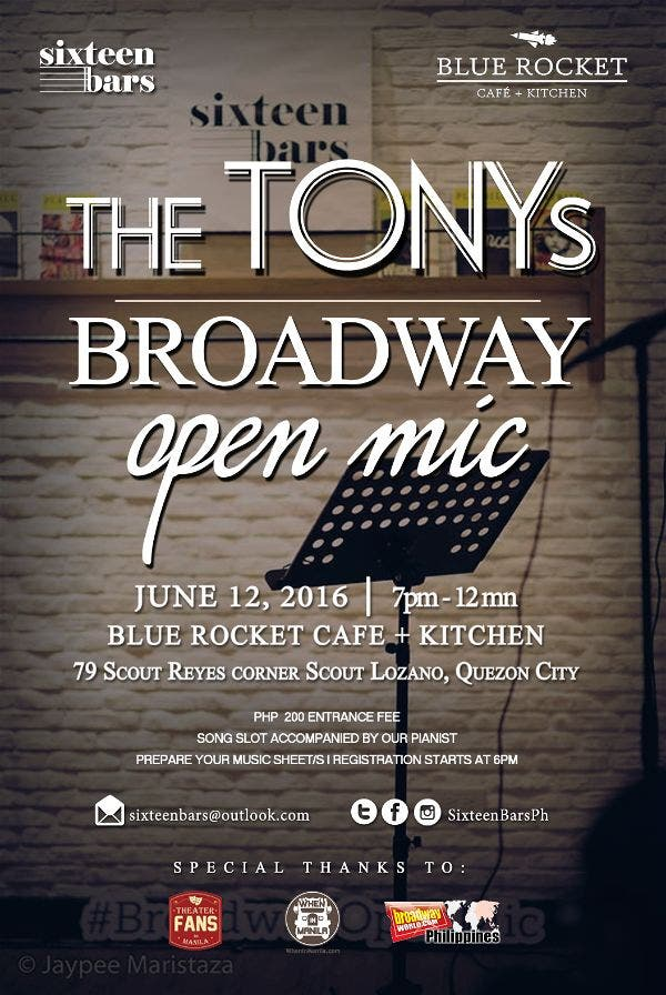 The TONYs Broadway Open Mic Sixteen Bars and Blue Rocket Cafe + Kitchen