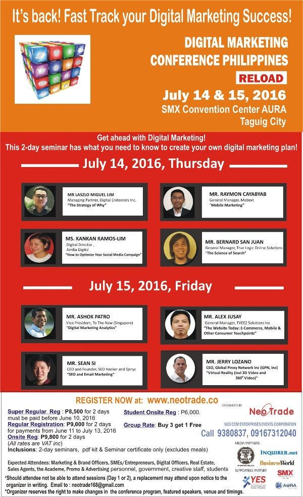All set for the Digital Marketing Conference Philippines 2016 on July 14-15