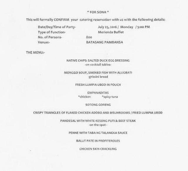 LOOK This is the Menu for President Duterte's First SONA