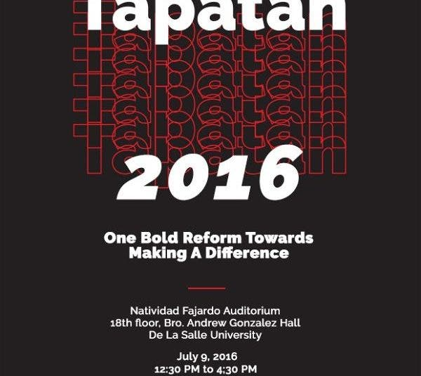 Tapatan 2016: A Series of Talks on Governance and Elections, Education, and Youth Development