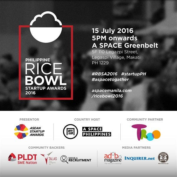The Philippine Rice Bowl Startup Awards 2016 to Take Place on July 15th