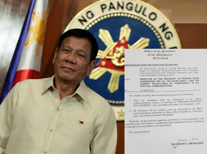 """No More Addressing the President as """"Excellency"""" and """"Honorable"""" in Duterte Administration"""