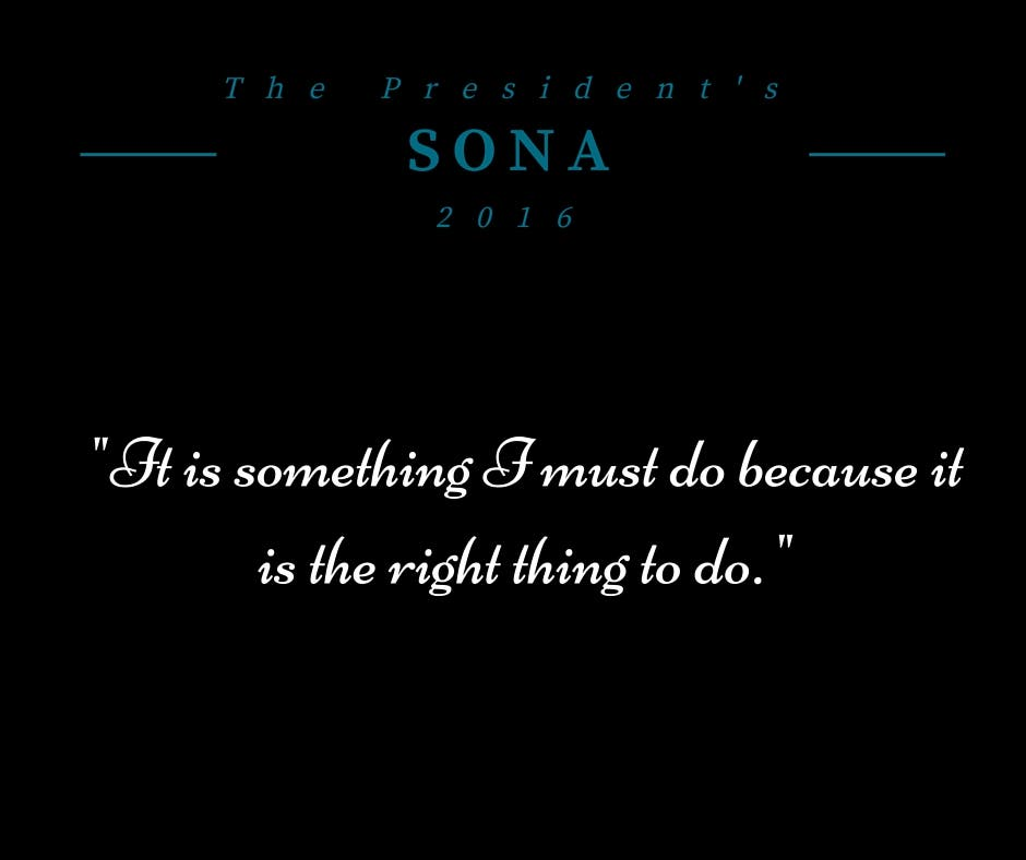 SONA 2016 Doing the right thing