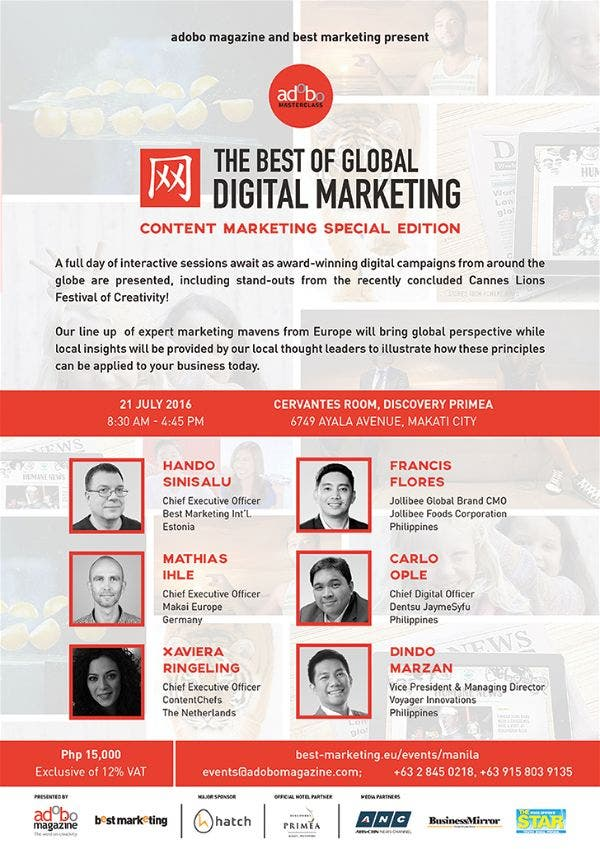 adobo Masterclass: Europe-based Best Marketing coming to Manila for Content Marketing Workshop adobo Magazine