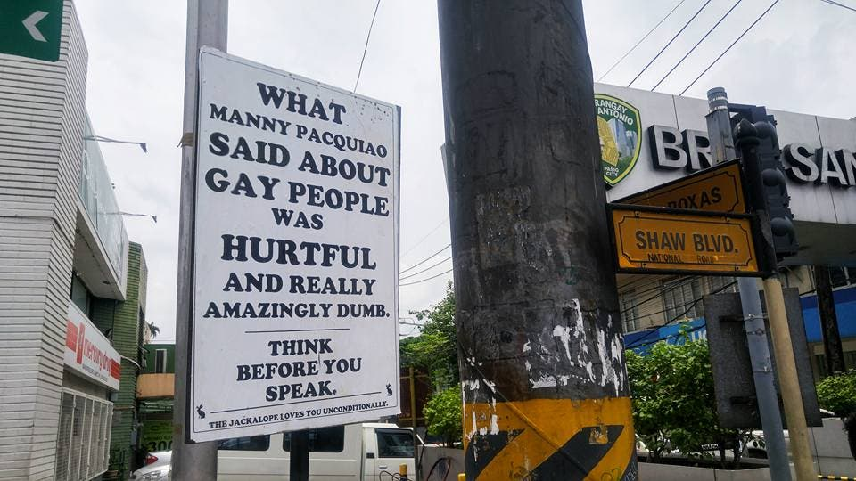 This is What a Street Sign Along Shaw Said About Pacquiao's Statement Against the LGBT