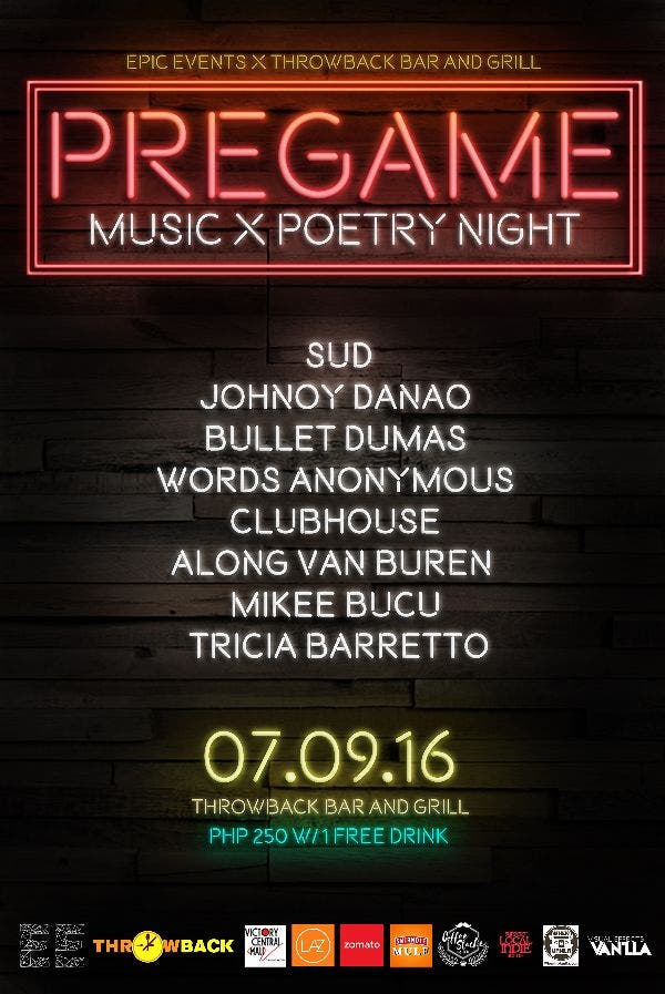 PREGAME: Music x Poetry Night with SUD, Johnoy Danao, Bullet Dumas, and More