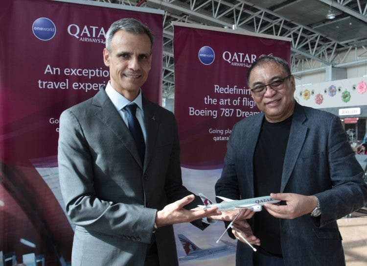Qatar Airways Philippines Country Manager Mr. Paolo Pausini (left) with Clark International Airport Corporation (CIAC) President Mr. Alexander Cauguiran (right)