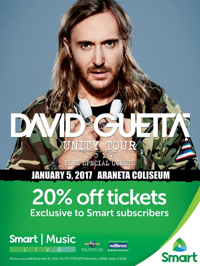 Get 20% discount on David Guetta - Unity Tour tickets!