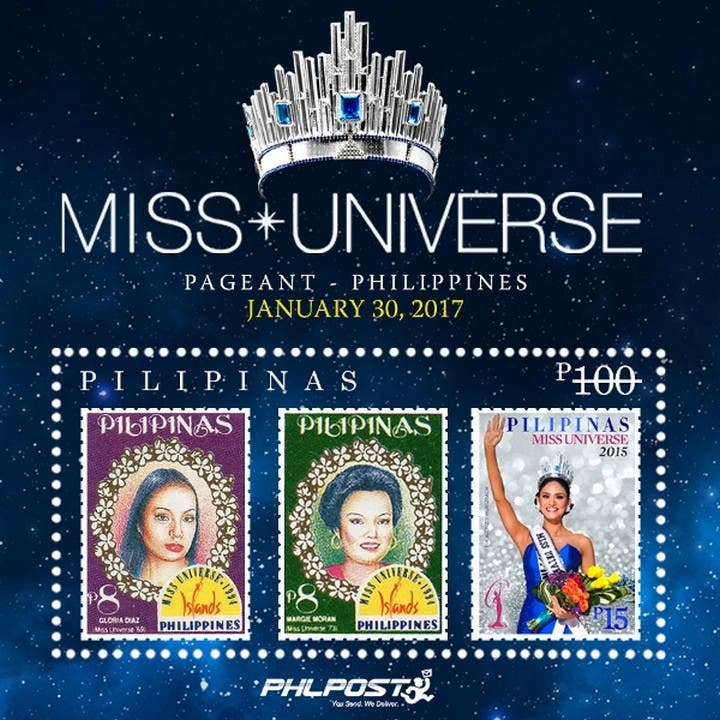 The stamps of Gloria Diaz, Margarita Moran and Pia Wurtzbach can be bought individually for P12, P17 and P55. The whole sheet with all three stamps is priced at P100.
