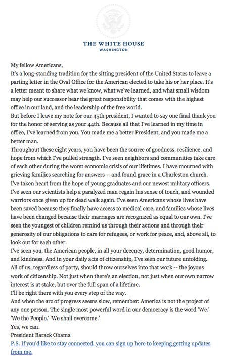 """Barack Obama. the 44th POTUS, says """"thank you"""" and promises to be with Americans """"every step of the way' on his farewell letter"""