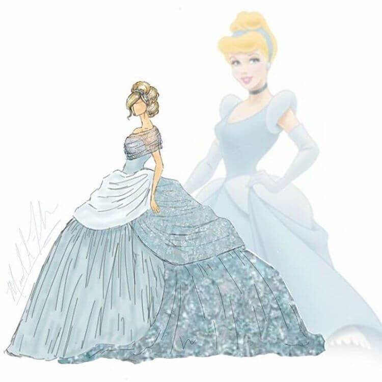 LOOK: Designer Reimagines Disney Princess Gowns as Modern ... Аниме Девушка с Косой