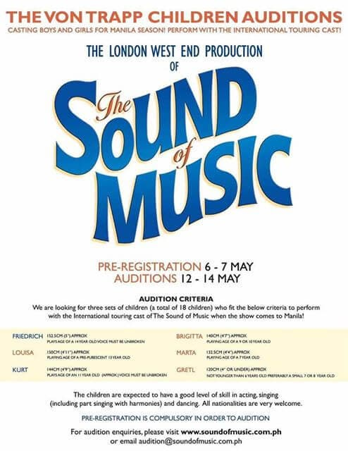 Sound of Music Manila Auditions