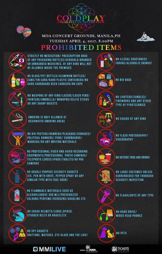 coldplay concert prohibited items