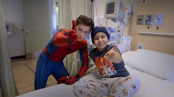 AWWW- New Spider-Man Tom Holland Swings to Visit Kids in Hospital
