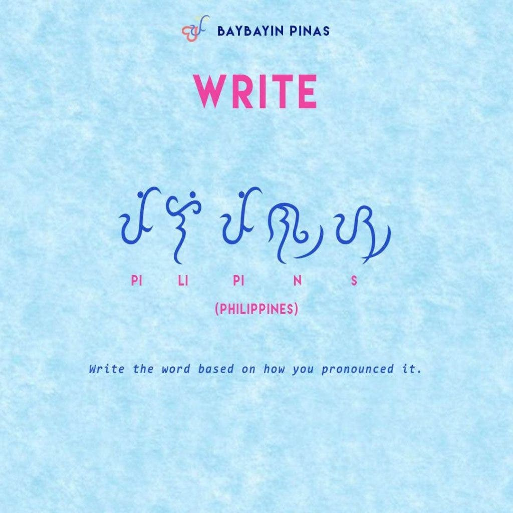 how to write in baybayin