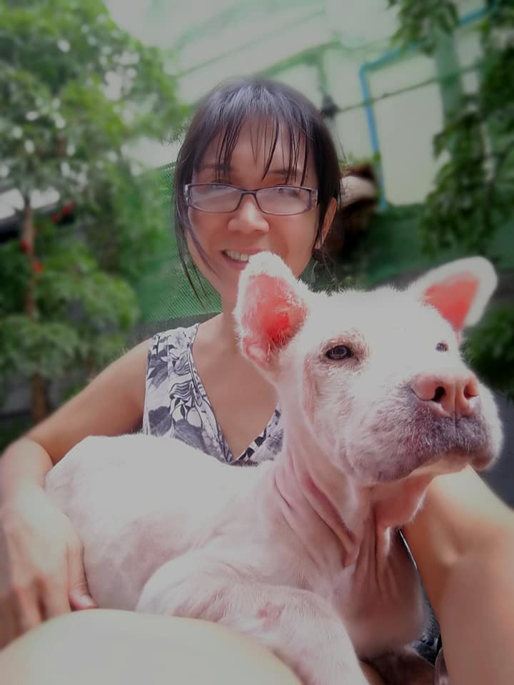 Carina Suarez and Chow Wei, rescued dog